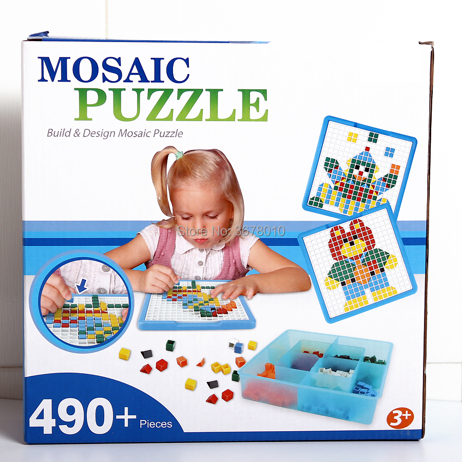 Mosaic Puzzle Pegboard Jigsaw Peg Puzzle Building Kits Game for Kids Kindergarten Intellect Education Toys (490 Pieces) for Kid