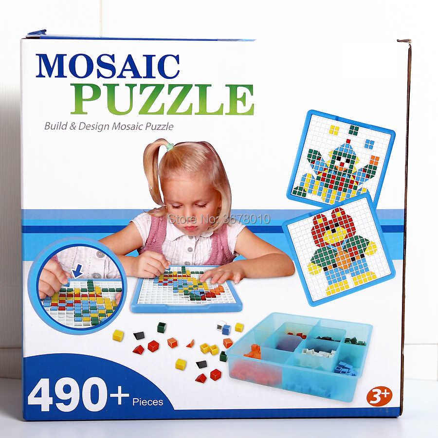 Teka-teki Mosaik Pegboard Jigsaw Peg Puzzle Bangunan Kits Permainan untuk Anak-anak TK Intellect Mainan Pendidikan (490 Pieces) untuk Anak