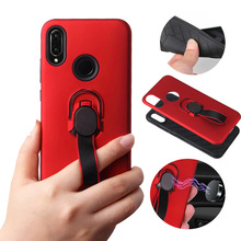 Luxury Magnetic Ring Car Holder Case For Huawei  Y9 2019 Fashion Lanyard Stand Back Cover Y6 Y7 Shockproof Armor Cases