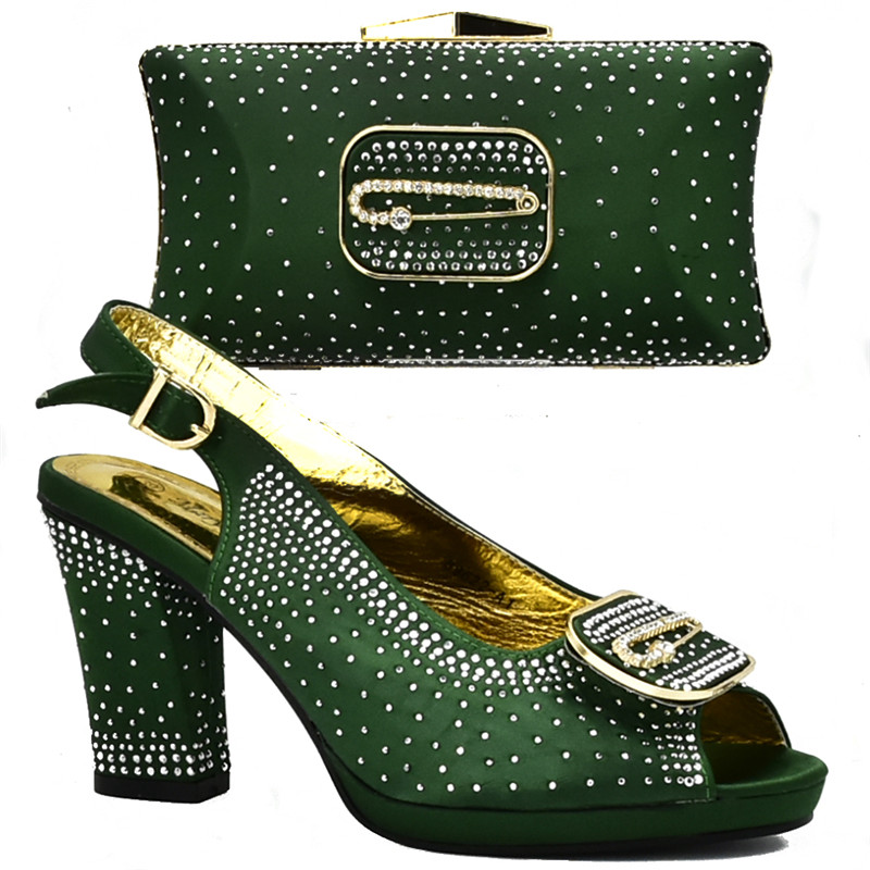 Último Italiano Juego Decorado Con rojo azul Mujeres De Zapatos Fiesta Negro verde Diamantes Alto Para Tacón Diseño Imitación Bolsos amarillo A Africana r5qYrAw