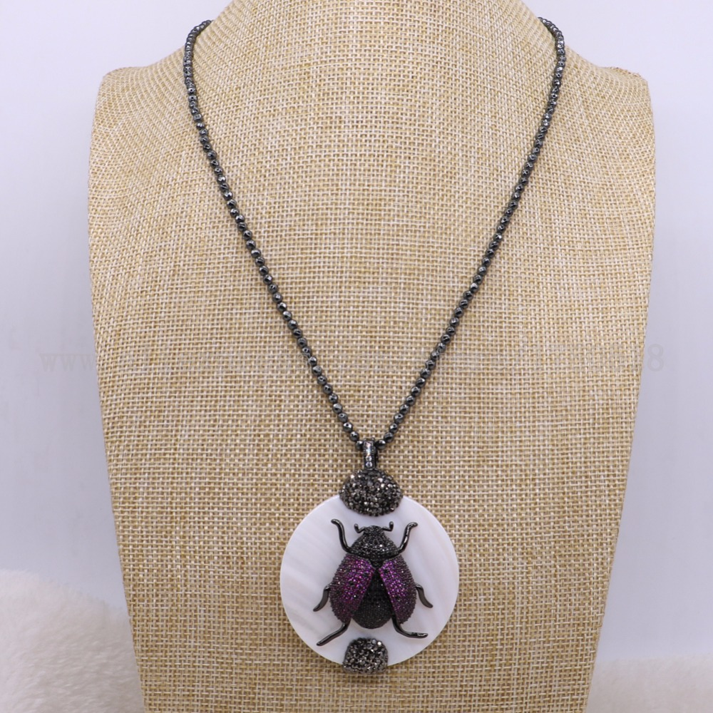 3 strands Flies bug beads with shell stone necklace with 3 mm 16 hematite chain fashion jewelry pendants 2898