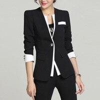 2017 Spring Autumn New Women Blazer Jackets One Button Slim Work Wear Blazers Feminino Plus size L XXXXL formal uniform 022303