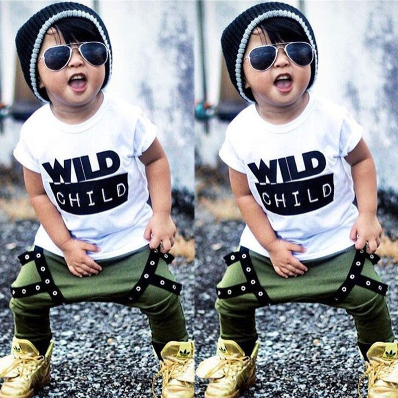 2019 Cool Streetwear Toddler Kids Baby Boys Children Sets Plaid Top Blouse T-shirt Pants Leggings Outfits Clothes Clothing Sets