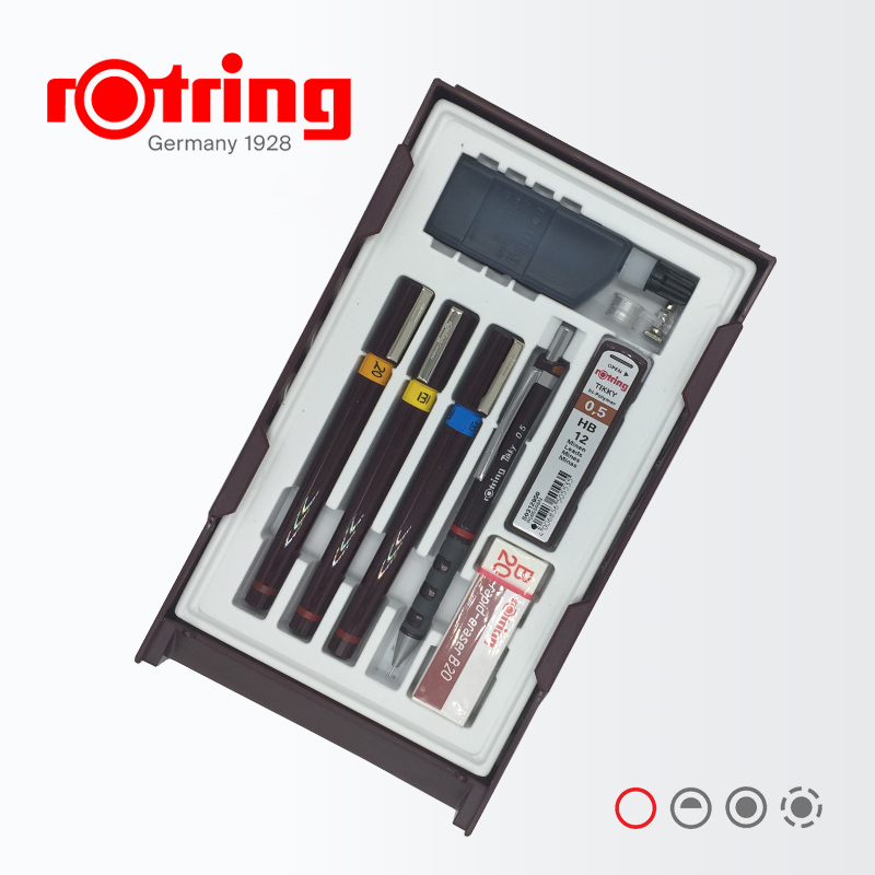 Germany Rotring Stylus Master Set Liner Mechanical Pencil Refill Ink Eraser Compass Graphics Design Set