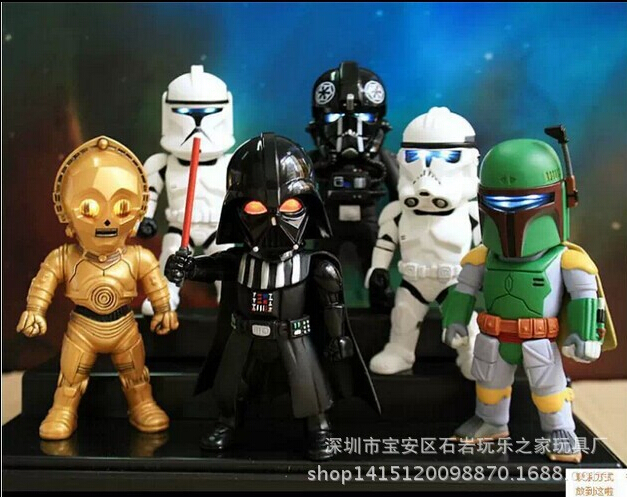 6pcs/set eye light Star Wars Action Figures PVC brinquedos Collection Figures toys for christmas gift With Retail box 16pcs set 4 6cm little pvc action toy figures horse princess celestia christmas gift for kids toys
