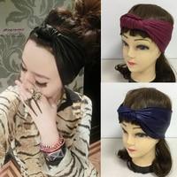 Fashion Punk Vintage Black Faux Leather Elastic Headband Hair Accessory Spring And Summer Bandanas