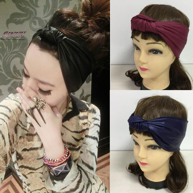Faux Leather Elastic Headband High Quality Imitation Leather Bow Hairbands Female Spring And Summer Bow Bandanas Black Blue Red 网 红 小 姐姐