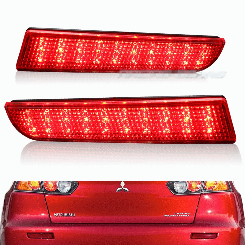 For 2008-2014 Mitsubishi Lancer Red Lens LED Rear Bumper Reflector Brake Light Lamp led rear light back light for mitsubishi lancer exceed led rear light smoke 2008 2013 yz