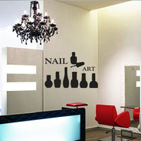 Nail Art Vinyl Wall Decal Nails Manicure Master Butterfly Lacquer Paint Design Wall Sticker Nail Shop