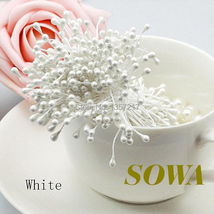37a1d406d79bd شحن مجاني بالجملة 3500 قطعة الوحدة أبيض اللون 3 ملليمتر اللؤلؤ زهرة سداة  الأزهار سداة ل ديي كعكة الديكور الزفاف