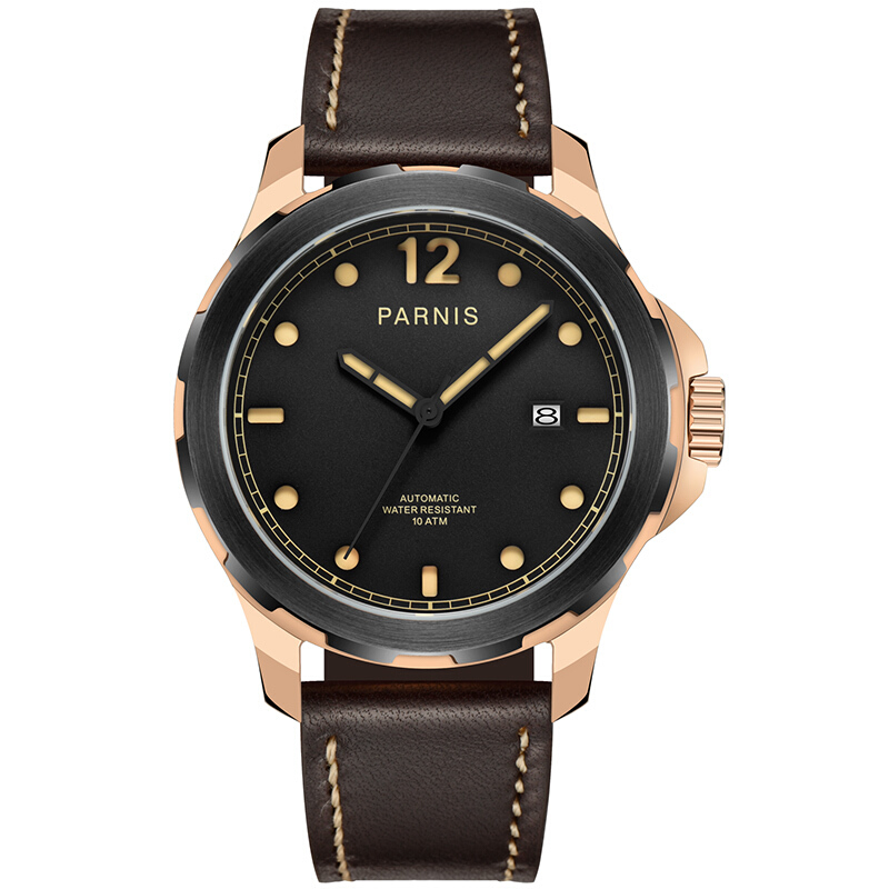Parnis Voyage Seriers Mens 100m waterproof Sapphire Glass Leather Watchband Military Sport Automatic Mechanical Watch WristwatchParnis Voyage Seriers Mens 100m waterproof Sapphire Glass Leather Watchband Military Sport Automatic Mechanical Watch Wristwatch