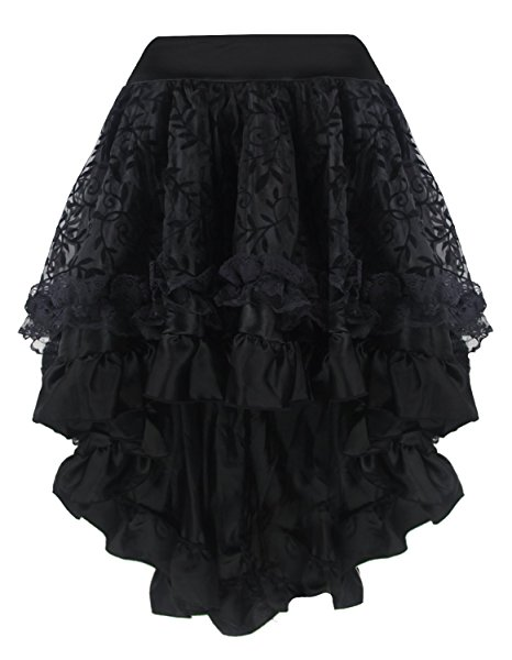 Women Sexy Gothic Asymmetrical Lace Floral Corset Skirt Elastic Waist Zipper Party Dance Skirt