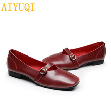AIYUQI Women flat shoes 2019 spring new genuine leather women casual shoes, large size 35-43 comfortable mother shoes women genuine leather handmade women shoes sewing foot wrapping comfortable casual shoes flat soft outsole mother shoes