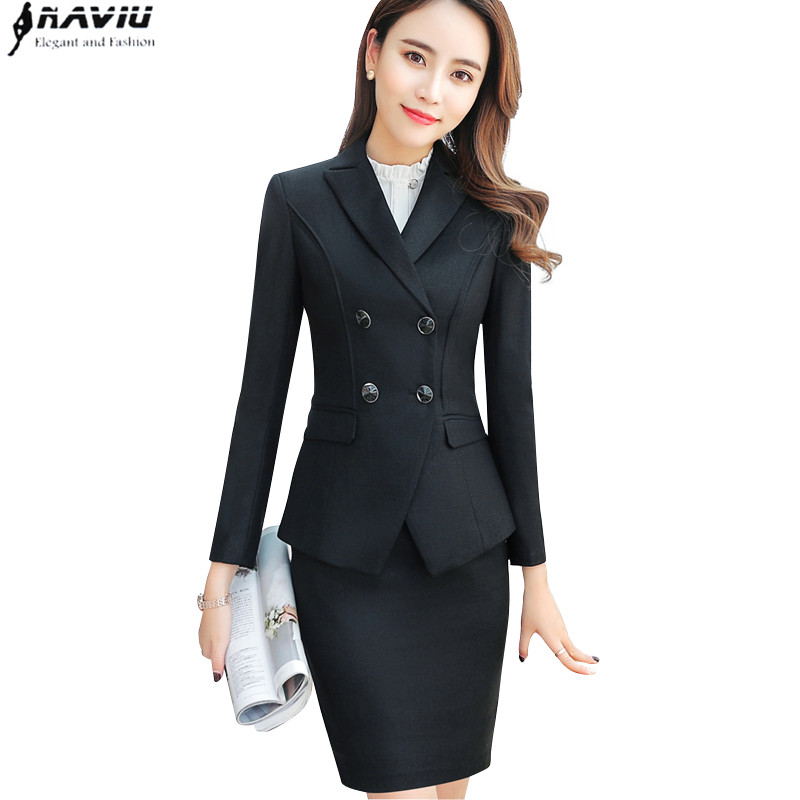 High quality business skirt suits set spring Slim fashion Double Breasted long sleeve blazer and skirt