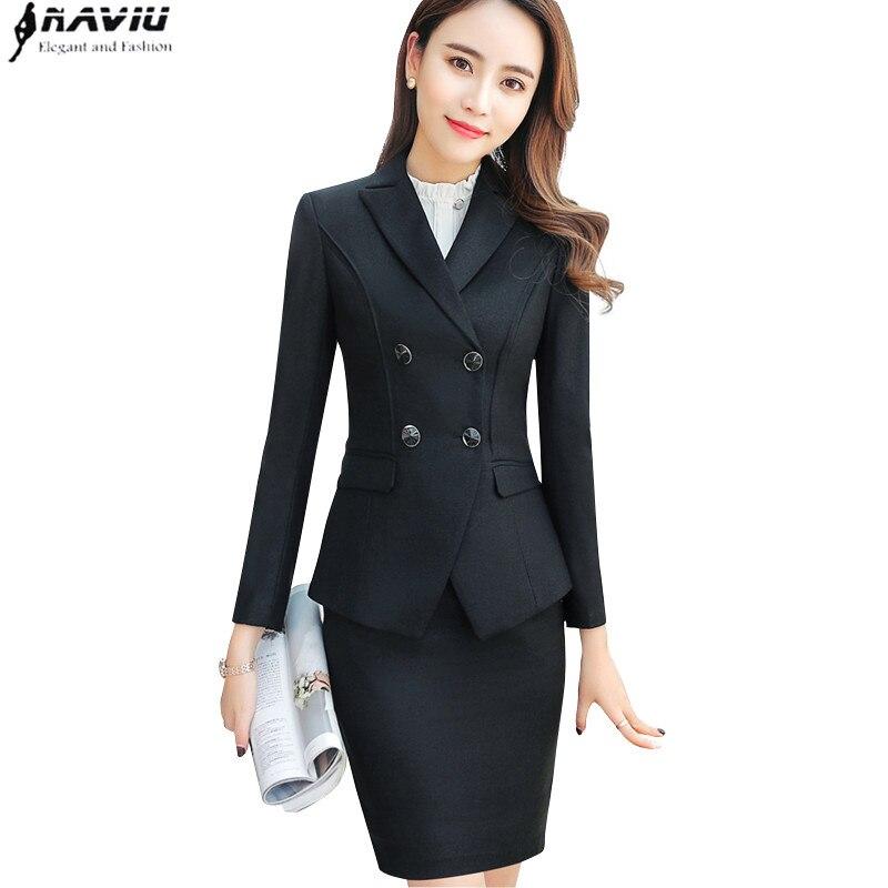 Kadın Giyim'ten Etek Takım Elbiseler'de Yüksek kaliteli iş etek takım elbise set bahar Ince moda Kruvaze uzun kollu blazer ve etek ofis bayanlar İş elbisesi'da  Grup 1