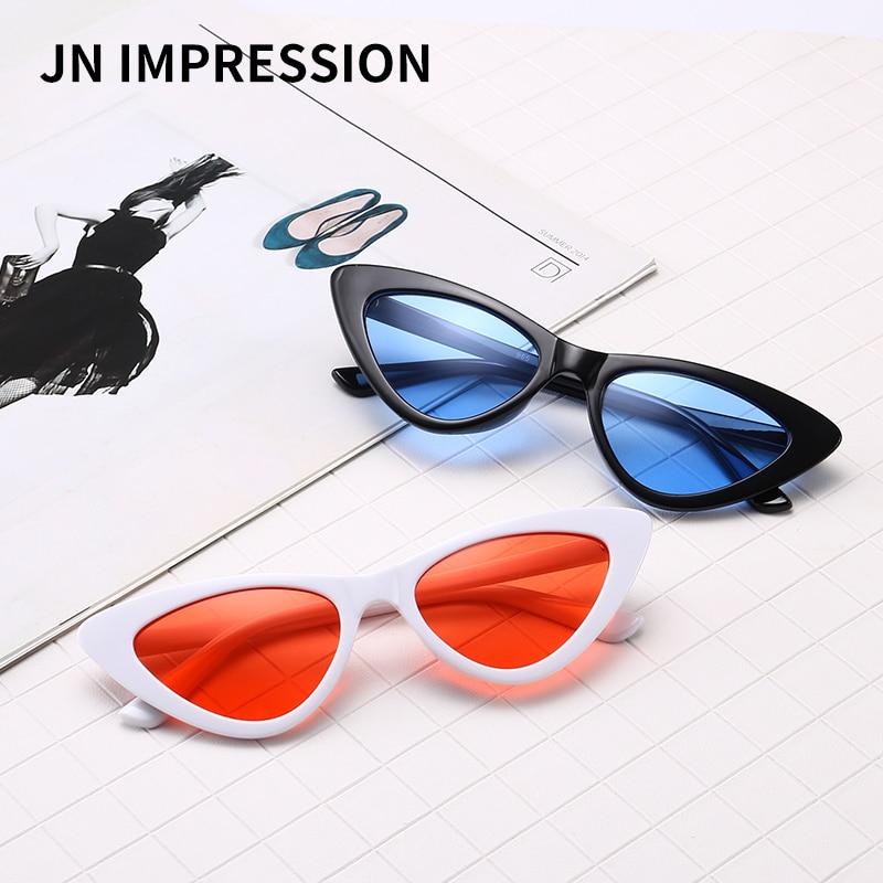 J N cute sexy retro cat eye sunglasses women small black white 2018 triangle vintage cheap sun glasses red female uv400 XL965