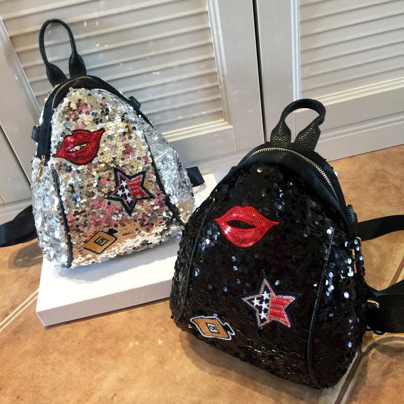 2019 Sequined Backpacks Teenager Girls PU Lips Bling Backpack Glitter Girls Travel Shoulder Bags School Bag Women backpacks 965 1