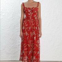 Красный цветочный Pin Tuck комбинезоны Для женщин пикантные шелковые с открытыми плечами оборками ремни свободные Комбинезон Праздник Повсед
