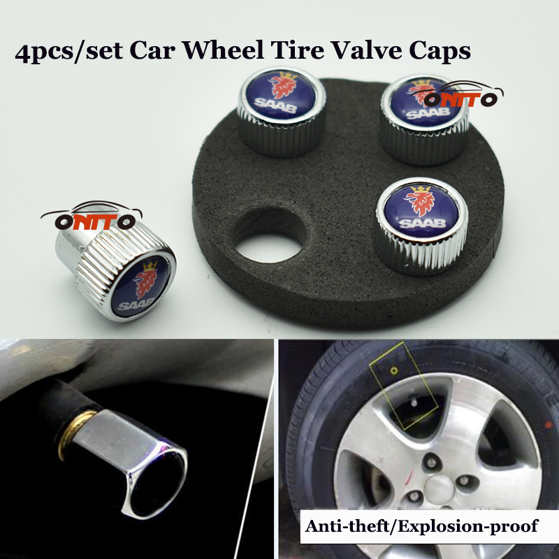 1 set Chrome car wheel valve stem cap auto metal Car Wheel Tire Air covers free shipping for saab 9-3 9-5 93 95 BJ SCS