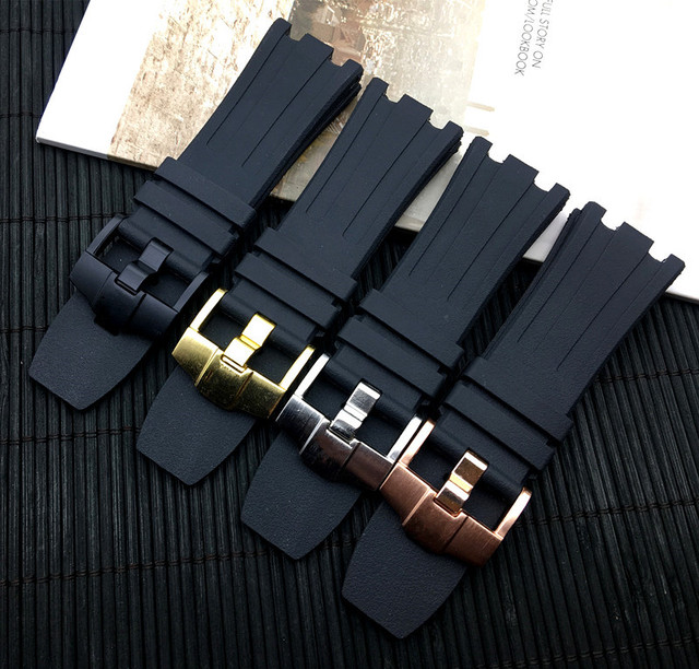 28mm Black Waterproof nature Rubber silicone Watchband Men Sport Watch Strap Ban