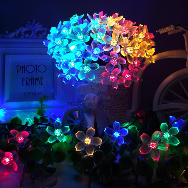 8 M 60LED 12 M 100LED Lâmpadas Solares Luzes Da Corda LED Com flores de Cerejeira Guirlanda de Natal Para O partido Do Casamento Do Jardim Clube ao ar livre