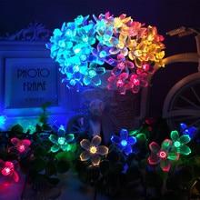 Lampes solaires sous forme de LED cordes, lampes lumineuses, avec guirlande de fleurs de cerisier, pour noël, pour un mariage, un jardin, une fête en boîte extérieure, 7M, 50, LED, 22m, 12m
