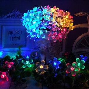 Image 1 - Solar Lampen LED String Lichter 7 mt 50LED 22 mt 12 mt Mit Kirschblüten Girlande Weihnachten Für Hochzeit Garten party Im Freien Club