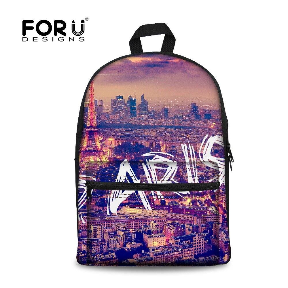 392f24623b13 Forudesigns модная Холст детей школьные сумки 3D Эйфелева башня печать  книга сумки для детей ранцы для школьниц Bolsa