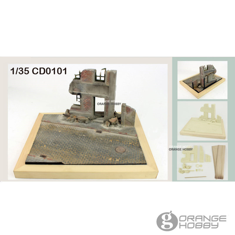 OHS JNModel CD0101 1/35 World War II European Town Scene Assembly Miniatures Accessories Model Building Kits world war 1