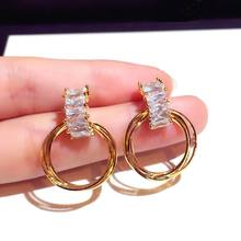 Top Quality Delicate Cubic Zirconia Circle Drop Earrings For Women Gold Color 2019 Fashion Jewelry Statement Earrings pair of delicate moon circle earrings for women