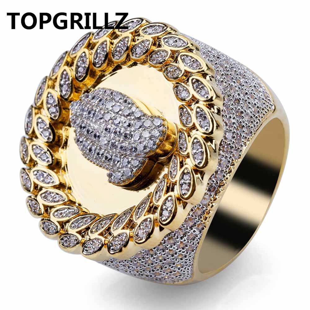 TOPGRILLZ Copper Gold Color Plated Micro Paved AAA CZ Stone Hand Round Ring Hip Hop Men Charm Jewelry Gifts With 8 9 10 11 12