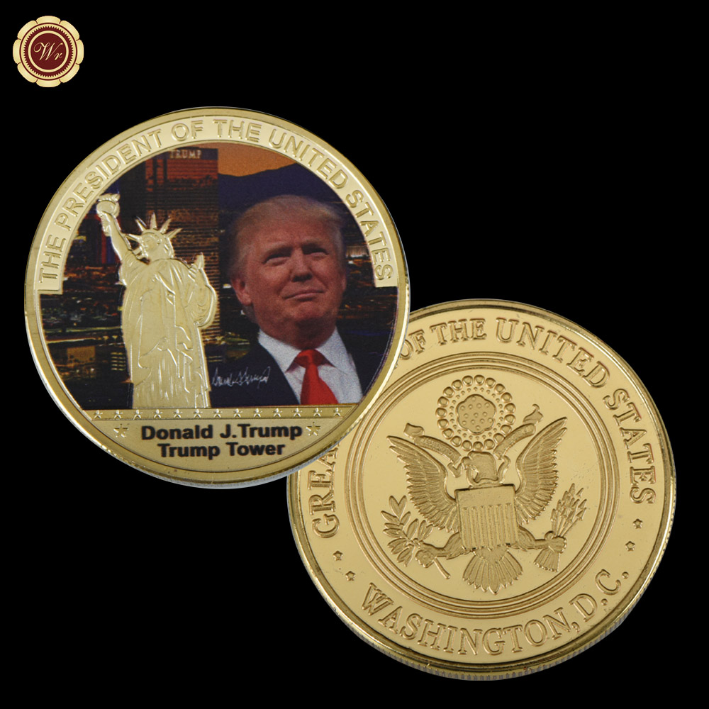 WR 1 Pc Gold President US Donald Trump Gold Plated Coin USA Trump Tower Statua Wolności Kolekcja Business Gift