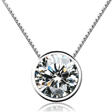 925 Sterling Silver Necklaces & Pendants For Girls Spherical Cubic Zircon Diamond Necklace Sterling-silver-jewelry Collier D127
