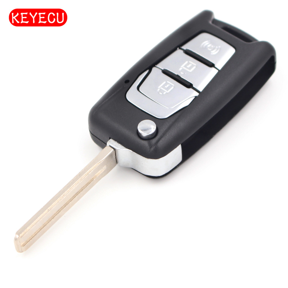 Keyecu Flip Folding Remote Key Shell Case 3 Button for SsangYong Korando New Actyon C200 2016 2017 image