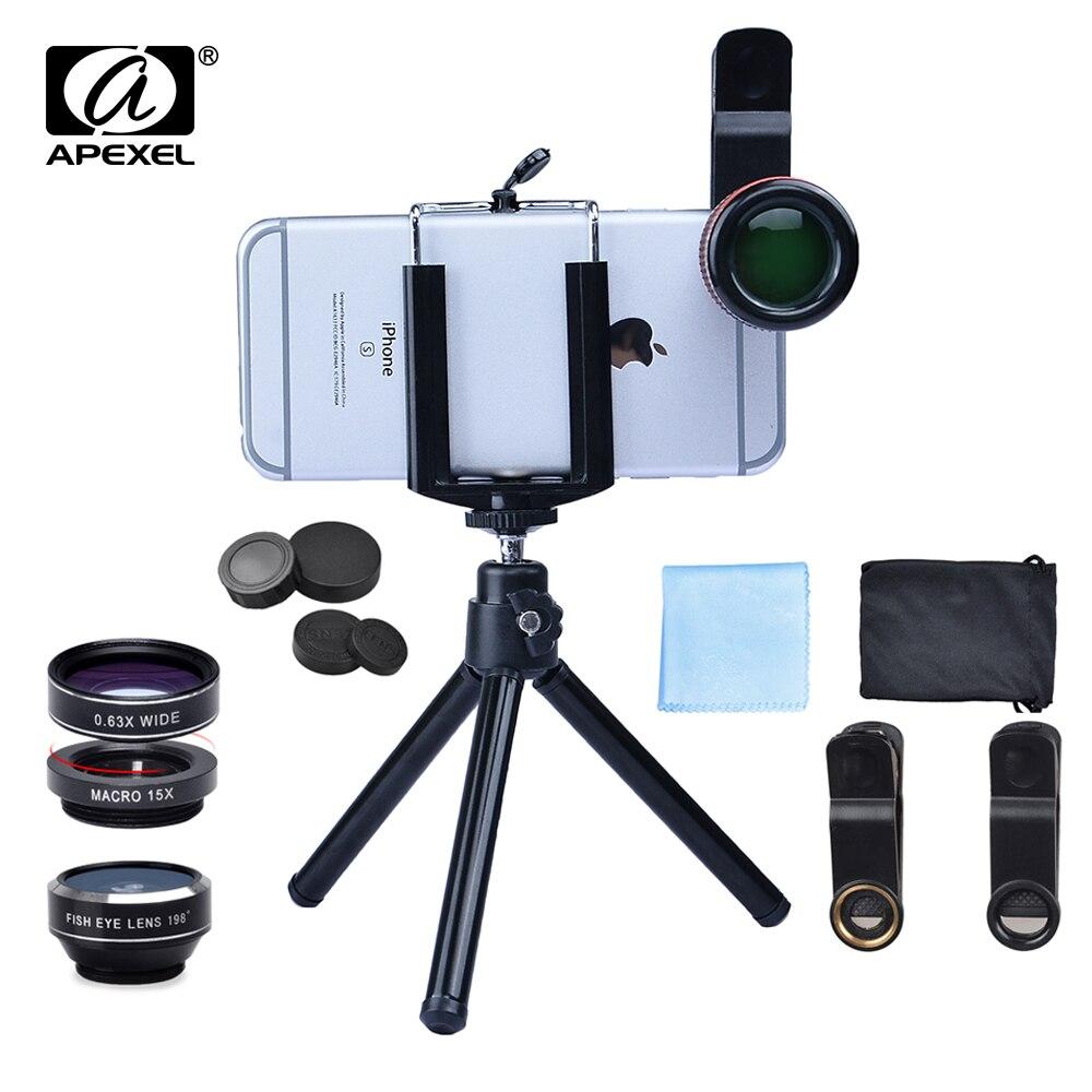 bilder für 6 in 1 universal clip Kamera-objektiv-kit 12X Teleobjektiv + Weitwinkel & Macro + Fisheye-objektiv + Stativ für iPhone 5 s 6 s 7 Xiaomi 12DG3