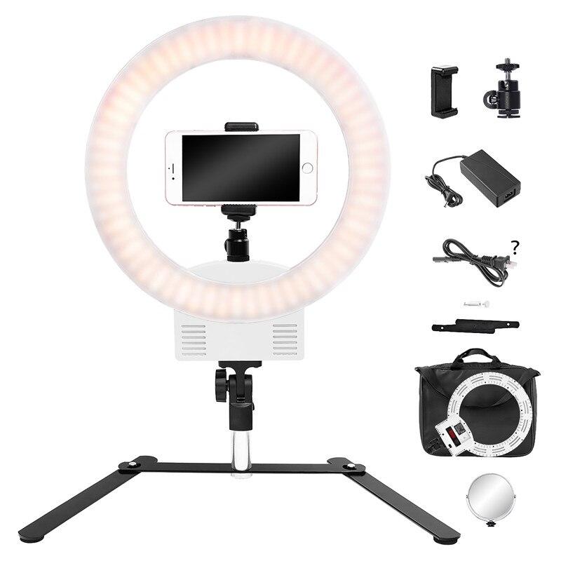 FOSOTO FT-12B 12 pouces Led éclairage photographique blanc 3200-5600 K pour appareil photo téléphone photographie anneau lumière Selfie lampe tablette Stand