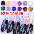 12 Цветов 3D Форма Полосы Ногтей Блеск Акриловые Nail Art Salon Блестки Порошок Наклейки Советы Для УФ-Гель Лак Для Ногтей