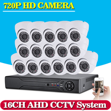 Home Security CCTV System 16CH 720P AHD CCTV DVR System HD 16PCS CCTV Cameras 1.0 Megapixels Enhanced IR Security Camera No HDD