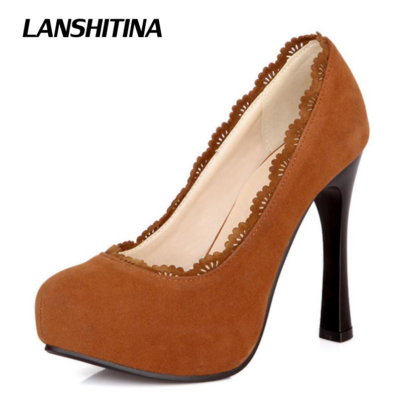 LANSHITINA Size 28-52 Women Heels Pumps High Heel Shoes Sexy Round Toe Pump Wedding Flock Stiletto Fashion Lady Quality Shoes new 2017 fashion women stiletto high heel shoes sexy lady platform spring fashion heeled pumps heels shoes pink plus big size
