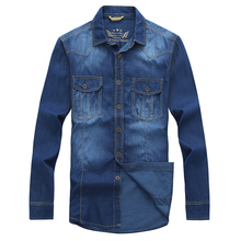 2016 Autumn winter clothing tall men The plus size cowboy shirt blue denim wash long sleeve
