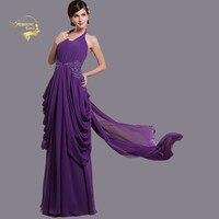 Halter Lace Appliques Backless Sexy Purple Evening Dresses Long Formal Party Gown Gelinlik 2019 Bridal Dress Vestido Formatura