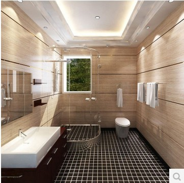 Bathroom Mosaic Tile Black Matte Prevent Slippery Floor Ceramic Toilet