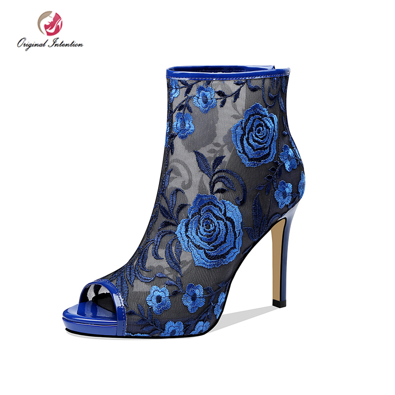 Original Intention Gorgeous Women Ankle Boots Summer Embroider Peep Toe High Heel Boots Blue Red Black Party Spring Shoes Woman