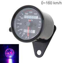 Motorcycle Speedometer 12V Two Color LED Night Light Double Counting Mileage Meter Speed Code Table for Motorbike