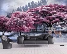 цена на beibehang Pink wallpaper mural forest tree elk landscape TV background wall living room bedroom 3d wallpaper decoration murals