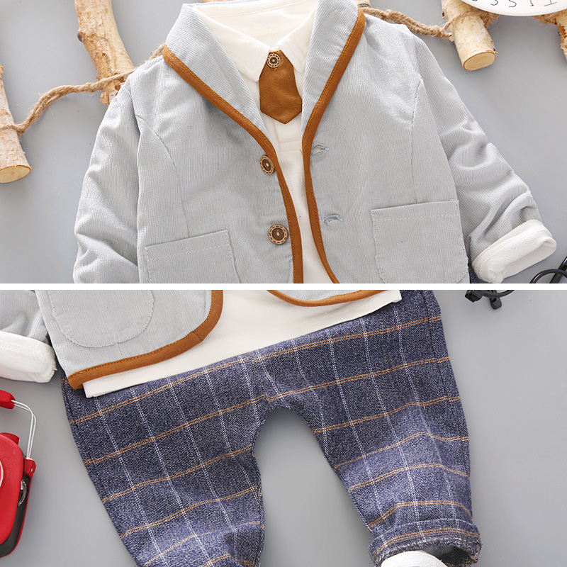Image 4 - 3PCS Toddler Tie Formal Clothes Set Baby Boy Outfit Suit Spring Autumn Cotton Children Outerwear Kids Clothing Suit Outfit 1 4YClothing Sets   -