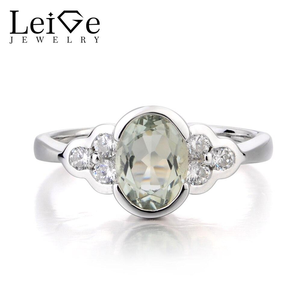 купить Leige Jewelry Engagement Ring Natural Green Amethyst Ring Oval Cut Green Gemstone Solid 925 Sterling Silver Bezel Setting Rings по цене 6323.77 рублей
