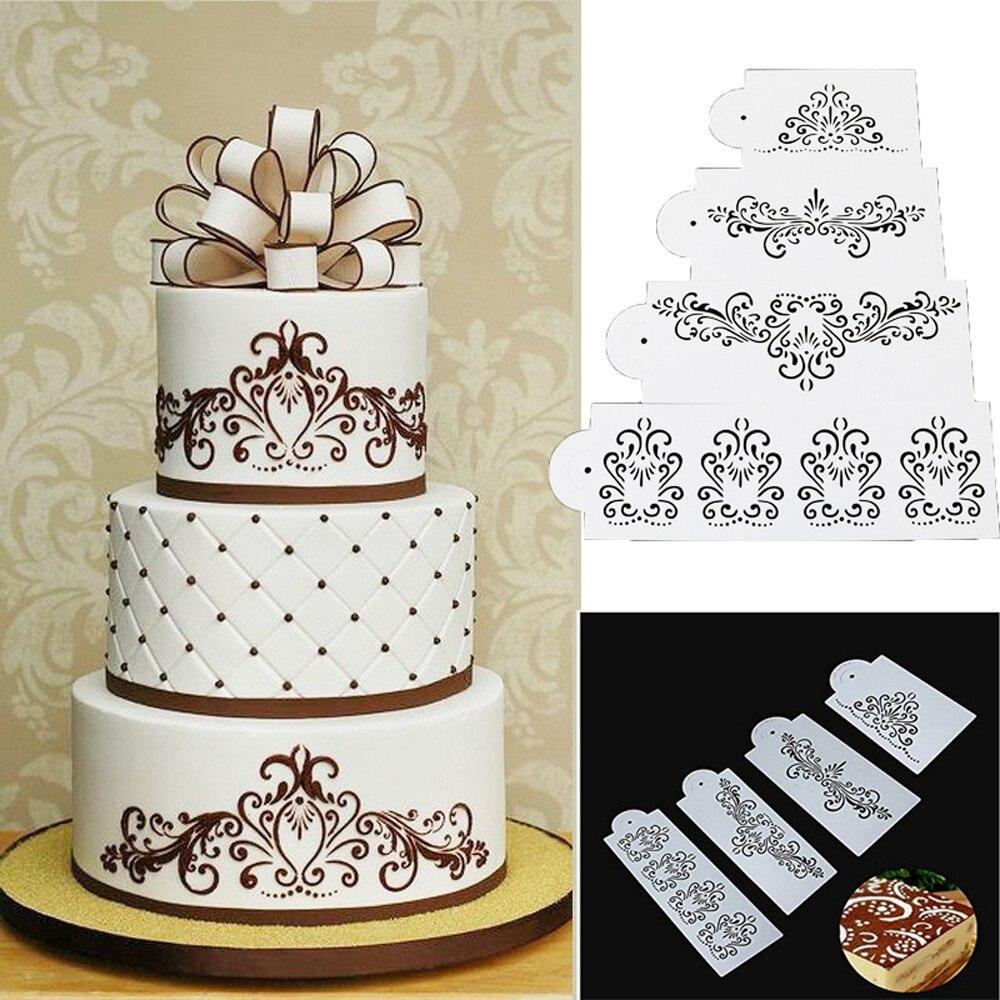 Hot Sale!!!4PCS/Set Useful Fashion Plastic Cake Decro Mould ...