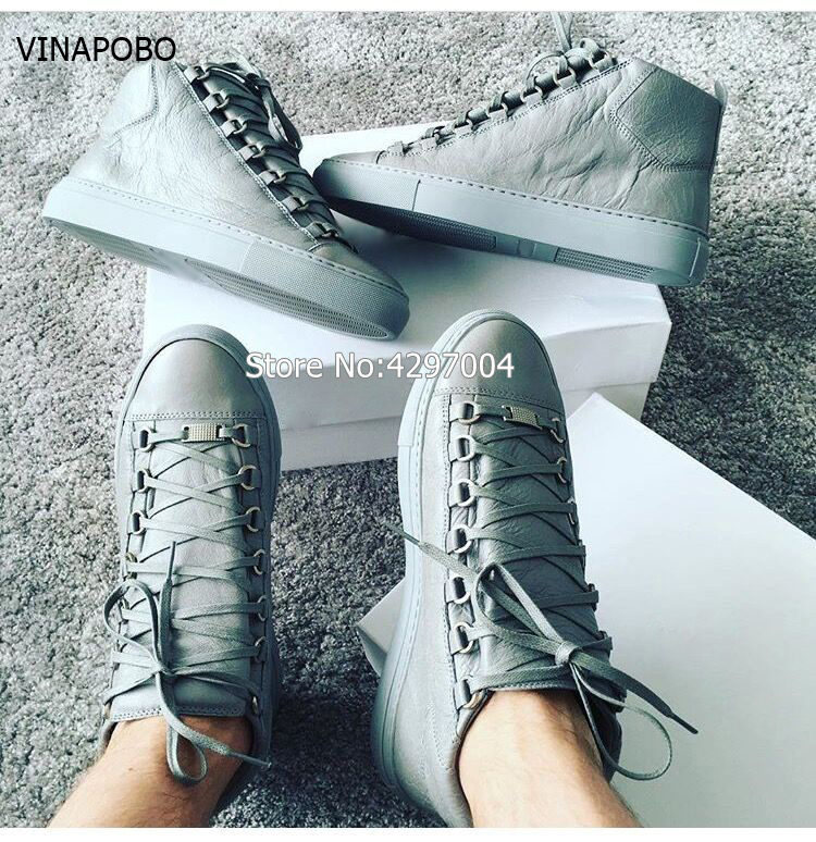 Vinapobo Fashion High Top Men Shoes Leather Men Casual Shoes For Autumn Winter Male Footwear Flats