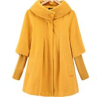 new winter women Cape loose knitted sleeves Woolen coat windbreaker jacket plus size